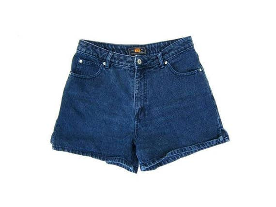 Vintage Dark Blue Jean Shorts 90s High Rise Denim Shorts High Waist Shorts Roll Up Mom Shorts Summer Shorts DES Womens Medium 9/10