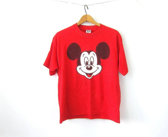 Mickey Mouse T Shirt RED Disney Tee Pullover Novelty Tshirt Retro Hipster Cotton Top Womens Size Medium Large