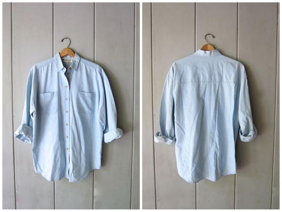 Vintage 90s Jean Shirt Oversized Button Up Washed Out Faded Slouchy Denim Shirt Hipster Minimal Boho Bleached Chambray Shirt Womens Large XL