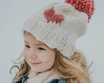 Knit baby hat, knit hat, knit baby beanie, heart beanie, heart Pom Pom hat,  knit beanie, knit wear, knit gift, winter hat, winter beanie