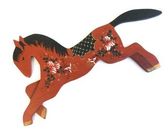 Vintage Red Dala Horse~ Wooden wall hanging~ Equestrian Nursery decro