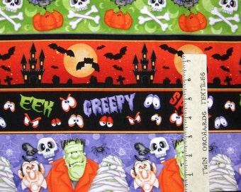 Halloween Fabric - The Count Skull Bat Vampire Stripe - Henry Glass YARD