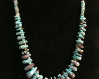 Native American Style Tear Drop Turquoise and Heishi Bead Necklace  #105