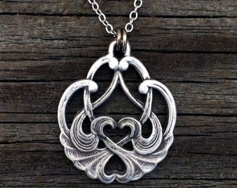 Swan Heart Pewter Necklace | Swan Necklace | Swan Jewelry | Handcrafted Jewelry | by Treasure Cast Pewter