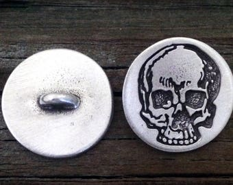2 Yorick's Skull Metal Button | Skull Shank Button | Great for Leather Wraps or Focal Clasps | by Treasure Cast Pewter