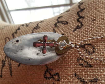 Key to Peace: Re-purposed spoon necklace with vintage key - Mixed Media