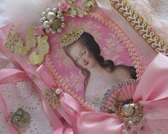 Marie Antoinette Collage Book Shabby Rose  Wedding Book, Lace Collage Book, French Journal, Shabby French Book, Mixed Media Art Journal