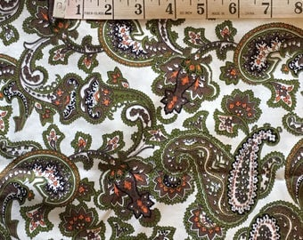 7 Yards 36 Wide Vintage 60s Cotton paisley Fabric