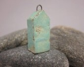 Less Is More...Minimalist House Pendant...Turquoise Green