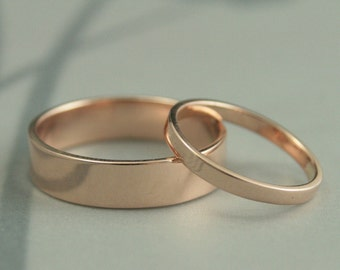 14K Rose Gold Wedding Band Set--Flat Modern Wedding Ring Set--5mm & 2mm Straight and Narrow Gold Bands--His and Hers Wedding Ring Set