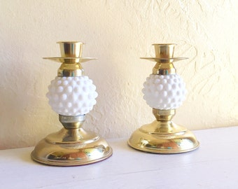 Beautiful Pair Gold and White Milk Glass Candlesticks Candle Holders Matching