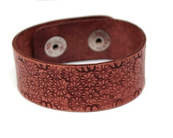Daisy Leather Stamped Cuff Daisy Floral Leather Cuff