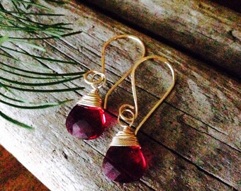 Ruby Pink Swarovski Crystal and Gold Wire Wrap Earrings