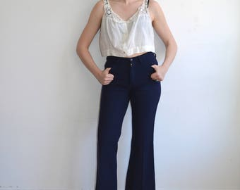 Vintage 70s Wool Levi's Bell Bottoms/ Mid Rise White Tab Levi Trousers
