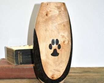 Pawprint Vase - READY TO SHIP - Maple - Pyrography - Pawprint - Dog Lover - Handmade - Cat Lover - Animal Lover