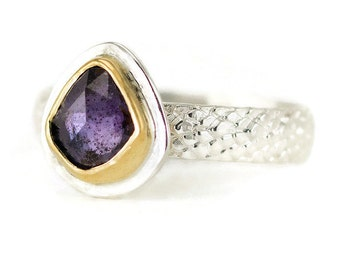 Purple Sapphire Ring - Sterling Rose Cut Sapphire - 22k Gold and Sterling Ring