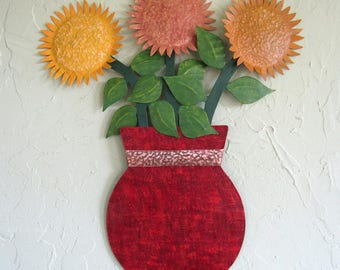 Metal Flower Wall Art Sunflower Sculpture Floral Art Home Wall Decor Vase Metal Kitchen Wall Art Large 16 x 19 Red  Upcycled Metal