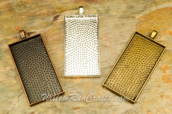 """20pcs  1"""" x 2""""  Rectangle Pendant Trays in Bronze, Antique Copper and Silver Plated.  Size is 1"""" x 2"""", Blank Bezel Cabochon Setting"""