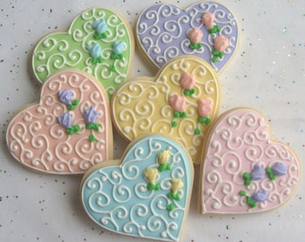 ROMANTIC HEART Decorated Cookie Favors -  Wedding Heart Cookies - Heart Decorated Cookie Favors -1 dz.