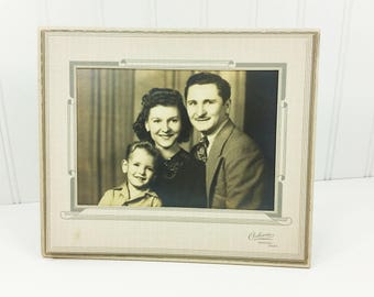 Parents and Child Family Photograph, 1940s Era Mother Father and Son Formal Portrait
