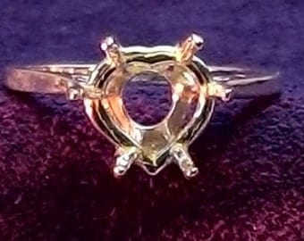 Solid 14kt. Yellow OR White Gold ~ 8mm Heart Shape DEEP Ring setting / Mounting ~ Custom sized from 5 to size 12 ~ to be ordered ~ #632 ~FDK