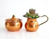 Hammered Copper Cream and Sugar Set / Vintage Copper and Brass Cream and Sugar Set / Hammered Copper Cream Pitcher and Sugar Bowl