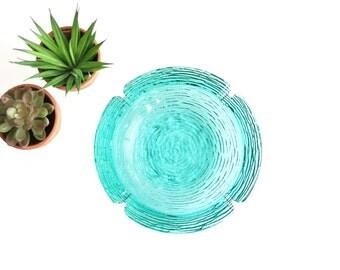 Mid Century Modern Aqua Blue Glass Ashtray / Anchor Hocking Soreno Ashtray / Vintage Aquamarine Glass Ashtray