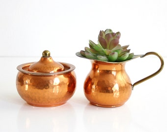 Hammered Copper Cream and Sugar Set / Vintage Copper and Brass Cream and Sugar Set / Hammered Copper Cream Pitcher and Sugar Bowl
