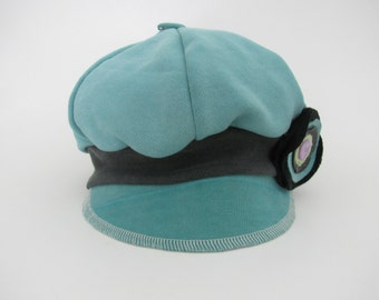 Women's Cotton Newsboy Cap, Fabric Newsboy Hat, Fall Winter Hat, Aqua Green Color, Chemo Hat, Non-Wool Flat Hat, Slouchy, with Flower Brooch