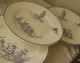 "Set of 6 Antique FRENCH Plates TENIERS Terre Defer ..8 "" across"