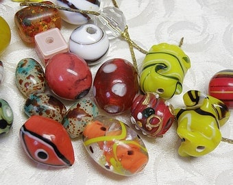 40 Bead Destash, assorted glass beads, red, yellow, more
