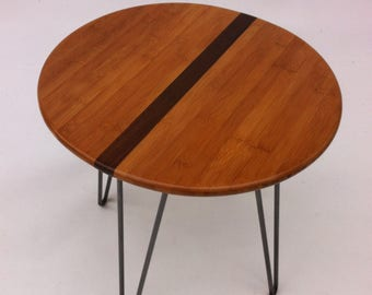 """QUICK SHIP! 18"""" Round Mid Century Modern Side Table With Stripe- Atomic Era Design In Caramelized Bamboo with Walnut Stripe on Hairpin Legs"""