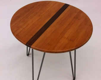 "QUICK SHIP! 20"" Round Mid Century Modern Side Table With Stripe- Atomic Era Design In Caramelized Bamboo with Walnut Stripe on Hairpin Legs"