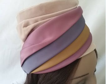 Vintage Hat Velvet and Satin