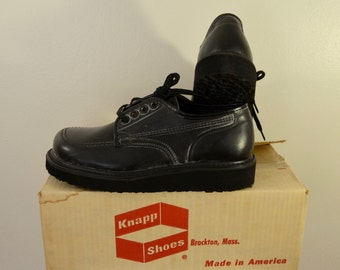 Vintage KNAPP Work Shoes USA made sz. 7 1/2 D 1960's new deadstock crepe soles