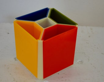 on sale Vintage PLASTIC CUBE Desk Organizer 1970's retro made in hong kong