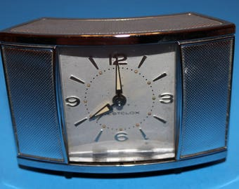Vintage Sliding Doors Art Deco Alarm Clock, Travel Alarm, 1950's Era