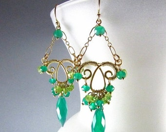 25OFF Green Onyx Marquis Earrings - Jungle Vines