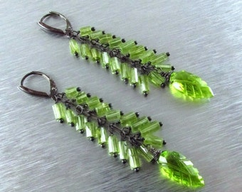 25% Off Long Peridot With Oxidized Sterling Silver Earrings