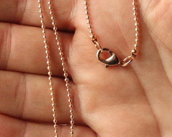 """Dainty Rose Gold Ball Chain necklace, choose 14"""" - 40"""", pale pink rose gold chain, plated chain, SMALL 1.5mm ball  S235"""