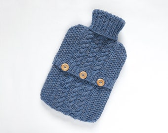 Hot water bottle cover / sweater - 100pc Scottish wool - Iris. Hand Knit Bottle Cosy / Cozy.