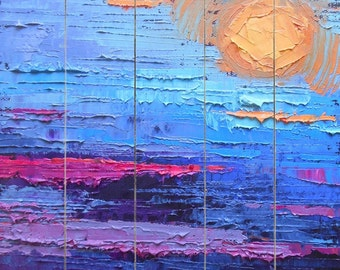 Giclee Print on Wood Planks, Abstract Skyscape Wall Decor, Free Shipping, Choose Your Size, Ready to Hang, No Frame Needed