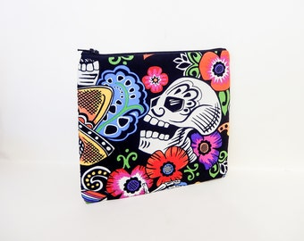 Fabric Zipper Pouch, Zipper Pouch, Pouch, Black Skeleton Pouch, Cosmetic Bag, Toiletry Bag, Black Zipper Case, Day of the Dead Zipper Case