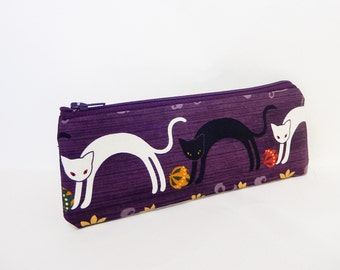 Fabric Zipper Pouch, Coin Purse, Change Pouch, Zipper Pouch, Cat Pouch, Cute Pouch, Zipper Case, Pouch, Small Zipper Case, Purple Cat Pouch