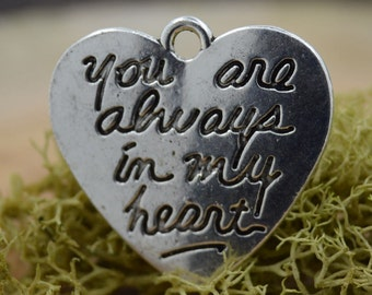 Heart Shaped Charm Pendants - Antique Silver Color - Sterling Silver Plated - Lead and Nickel Free - Lot of 8 (eight) - 21x20 mm, MB052