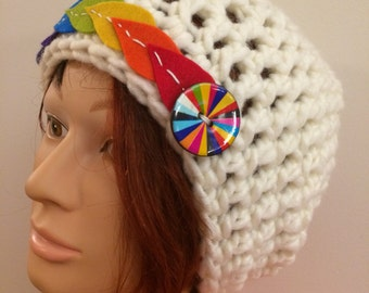 White with Rainbow Crocheted Slouch Hat 26/16
