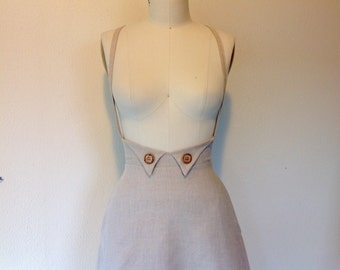 Natural linen suspender skirt Sz 2