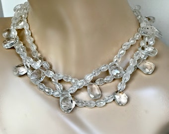 Clear Crystal Quartz Choker Ice Crystal Statement Necklace June Birthstone Triple Strand Clear Quartz Choker Chunky Quartz Choker