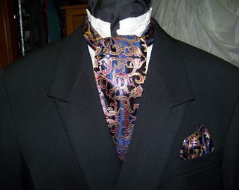 "Ascot and pocket square puff Navy Blue, Gold and Marron Royal print  Brocade fabric 4"" x 44"" Mens cravat tie"
