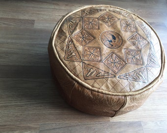 vintage Moroccan leather pouf hancrafted  footstool and ottoman